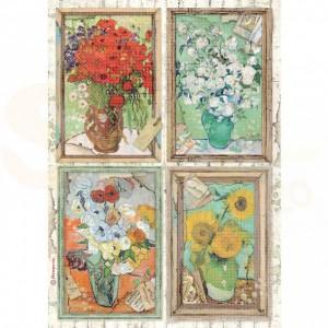 Stamperia rice paper A4, Atelier van Gogh DFSA4549