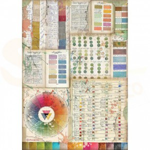 Stamperia rice paper A4, Atelier Pantone Charts DFSA4552