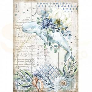 Stamperia rice paper A4, Romantic Sea Dream Whale DFSA4559