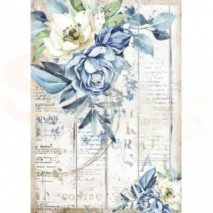 Stamperia rice paper A4, Romantic Sea Dream Blue Flower DFSA4560