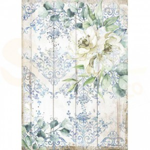 Stamperia rice paper A4, Romantic Sea Dream White Flower DFSA4561