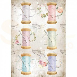 Stamperia rice paper A4, Romantic Threads Needle & Thread DFSA4567