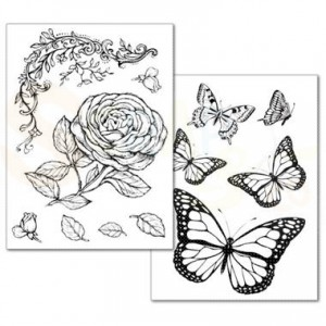 Stamperia Transfer Paper A4, Roses and butterfly DFTR038