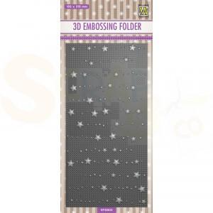 Nellie's Choice, embossingfolder - Slimline sterren en stippen EF3D033
