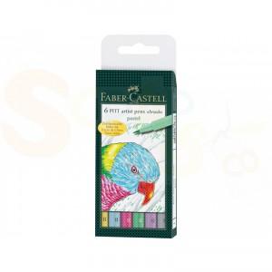 Faber Castell, Pitt Artist Brushpen, 6-delig etui, FC-167163, pastel