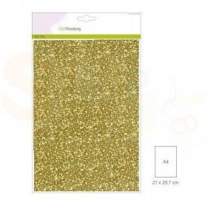 Glitterpapier CraftEmotions, 5 vel - goud 001290/0155