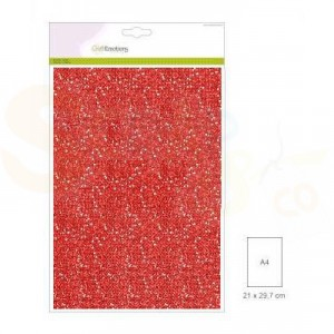 Glitterpapier CraftEmotions, 5 vel - kerstrood 0012090/0145