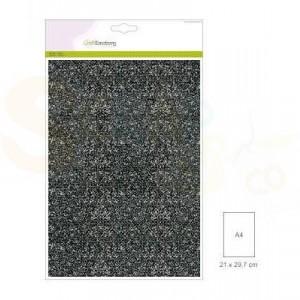 Glitterpapier CraftEmotions, 5 vel - zwart 0012090/0170