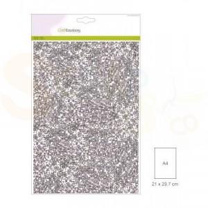 Glitterpapier CraftEmotions, 5 vel - zilver 001290/0165