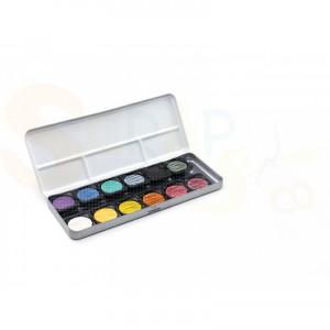 Fine-Tec verftablet metallic kleuren in blik, 12 stuks, K-F1200