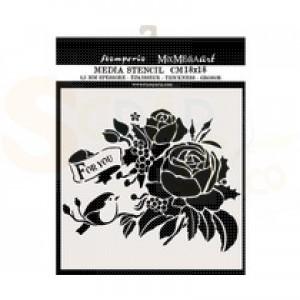 Stamperia, stencil 18x18 cm, For You KSTDQ47