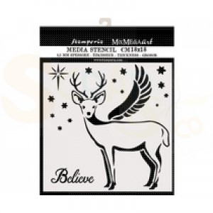 Stamperia, stencil 18x18 cm, Deer KSTDQ48