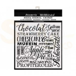 Stamperia, stencil 18x18 cm, Chocolat KSTDQ61