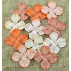 Bloemen mix peach/orange 2,5 cm MKX686