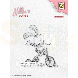 Nellie's Choice, clearstamp Cuties, Javi op de Fiets NCCS004