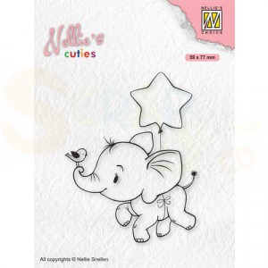 Nellie's Choice, clearstamp Christmas Cuties, Olifant NCCS011