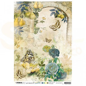 StudioLight, JMA ricepaper Arch w. Roses & butterflies New Awakening nr.12 JMA-NA-RICE12