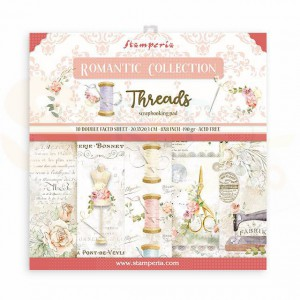 SBBS36 paperpad 8x8 inch Stamperia, Romantic Threads