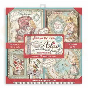SBBXL12 paperpad 12x12 inch Stamperia, Alice wonderland EN looking glass