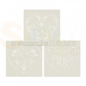 Alexandra Renke, stencil Floral Folk art heart, ST-AR-0128