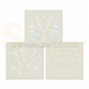Alexandra Renke, stencil Floral Folk art circle, ST-AR-0129