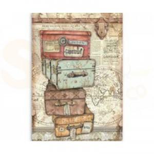 Stamperia rice paper A4, Lady Vagebond Luggage DFSA4520