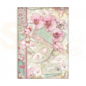 Stamperia rice paper A4, Pink Orchid DFSA4512