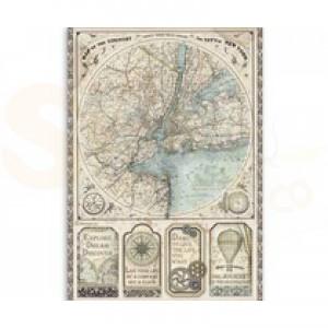Stamperia rice paper A4, Sir Vagebond Map of New York DFSA4515