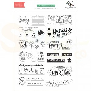 Altenew, clearstamp Thinking of You by The Stamping Village ALT4245