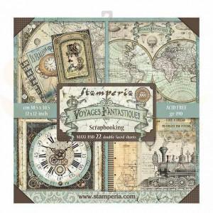 SBBL53 paperpad 12x12 inch Stamperia, Voyages Fantastiques