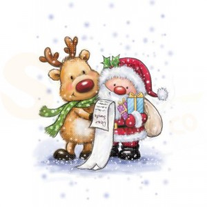 CL 457, Wild Rose Studio's clearstamp, Santa and Rudolph
